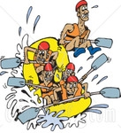65510-Royalty-Free-RF-Clipart-Illustration-Of-A-Team-Of-White-Water-Rafters